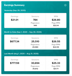snapshot of earning summary from mediavine