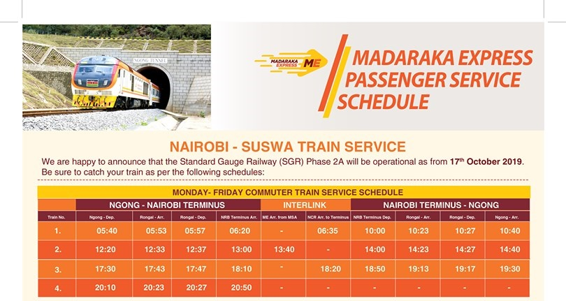 SGR Phase 2A Nairobi to Naivasha SGR Schedule Monday to Friday Commuter Train